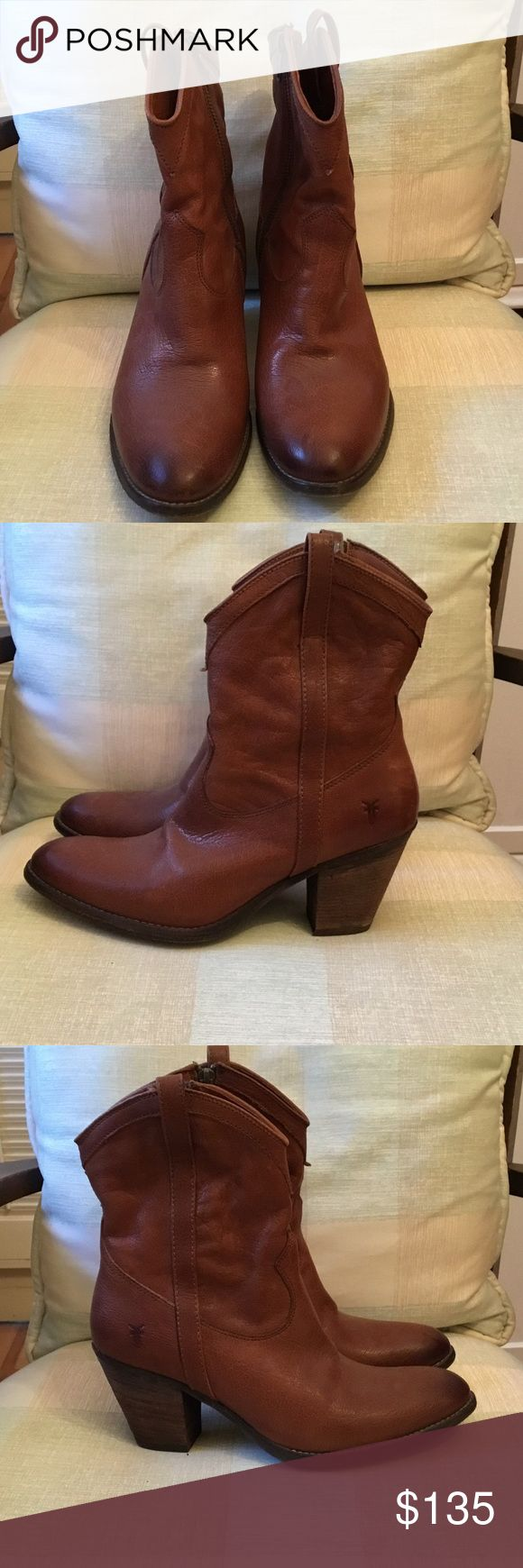 Cute FRYE Cowboy boots FRYE boots light soft brown leather. Zipper sides. 2.5 inch heel. Lightly worn. Maybe 3 times. Frye Shoes Ankle Boots & Booties