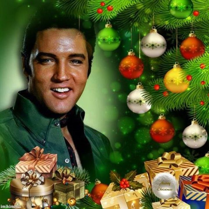 Elvis Military Christmas card with the Colonel as Santa elvis blue