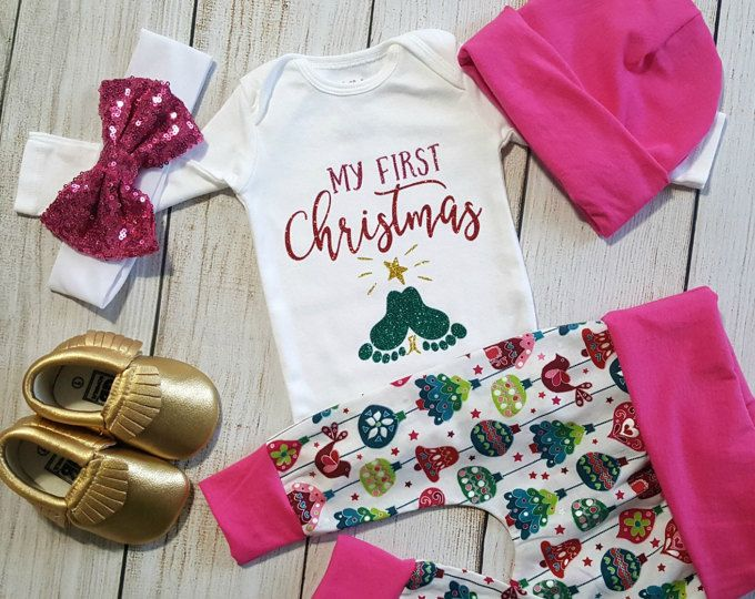 Christmas Coming Home Outfit, Baby Girl Going Home Outfit, My 1st Christmas Onesie, Newborn Baby Girl Gift Set, * 2 Purchasing Options*