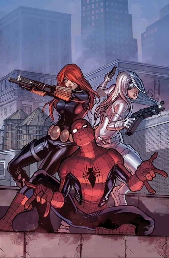 Homem Aranha, Viúva Negra & Sabre de Prata.