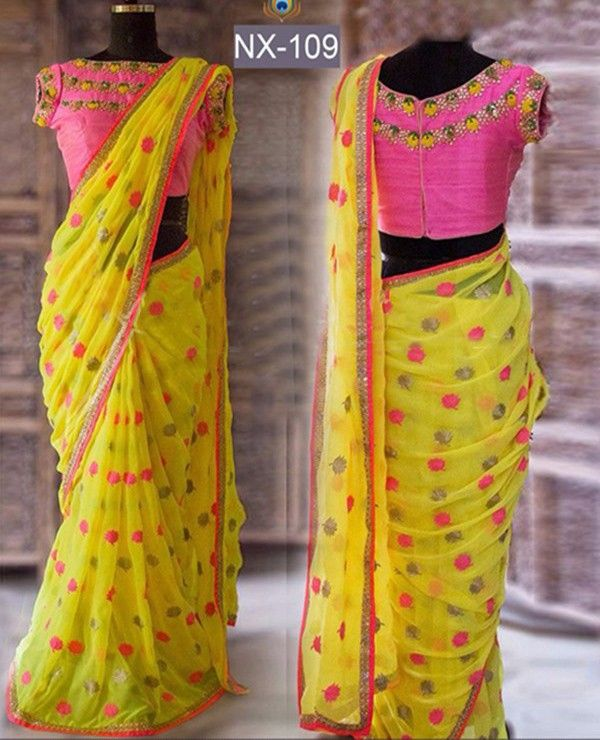 Georgette+Machine+Work+Yellow+Saree+-+ND109 at Rs 1899
