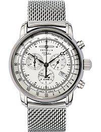 Zeppelin Herrenarmbanduhr Special Edition 100 Jahre Zeppelin Chronograph Alarm 12-Stunden-Stoppfunktion Quarz weiß 7680M-1