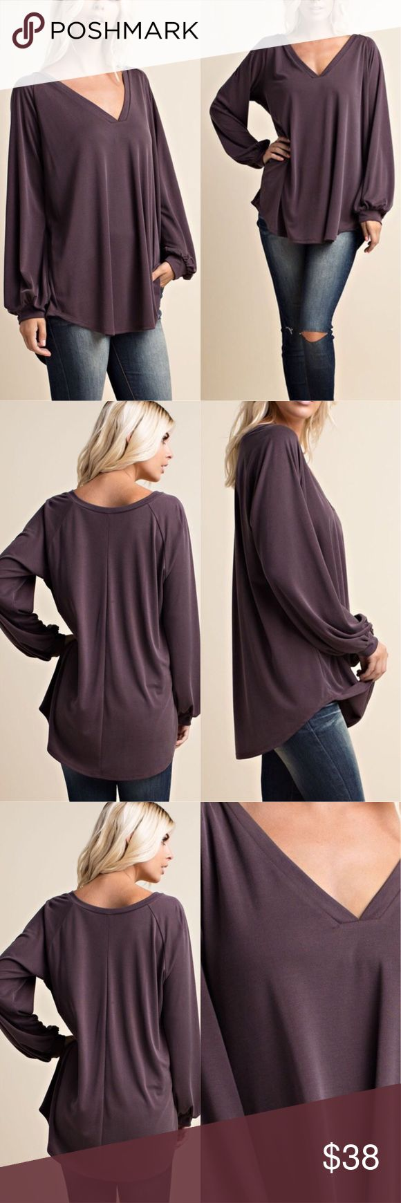 Last one ✔️ Soft and Loose fit long sleeve tops This top has a loose tunic fit and is very comfortable...perfect for the change of season. 65%rayon 35%spandex. Price is firm. Small Bust 46' Medium Bust 48' Large Bust 50' Boutique Tops