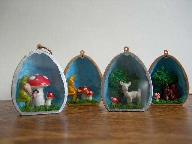 Walnut Diorama Pendants by Katy Kristin