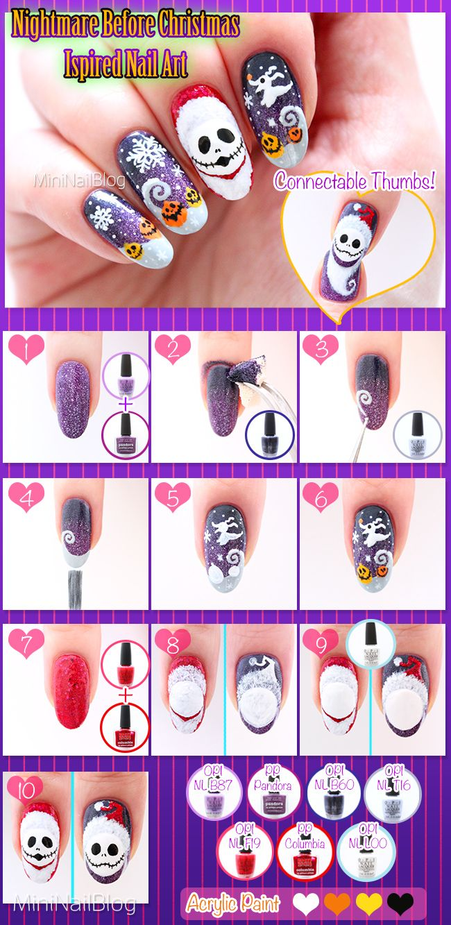 Nightmare Before Christmas inspired nail art with Santa Jack Skellington! Please visit my blog for the tutorial: https://nailbees.com/nightmare-before-christmas-nails.html #HalloweenNails #NightmareBeforeChristmas #NailArt #Tutorial