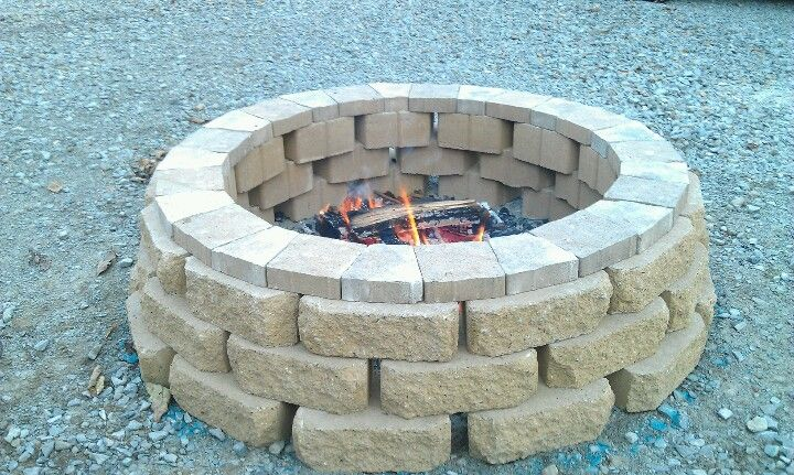 Our homemade firepit made from stackable Windsor retaining