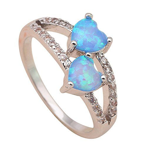 T-Jewelry Fashion Two Hearts Blue Fire Opal Jewelry Ring ...
