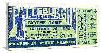 Football gifts made from football tickets in The 47 STRAIGHT Collection™ of the greatest college football tickets! The BEST football gifts for home or office. http://www.shop.47straightposters.com/1936-Notre-Dame-vs-Pitt-Football-Ticket-Art-36-PITT.htm
