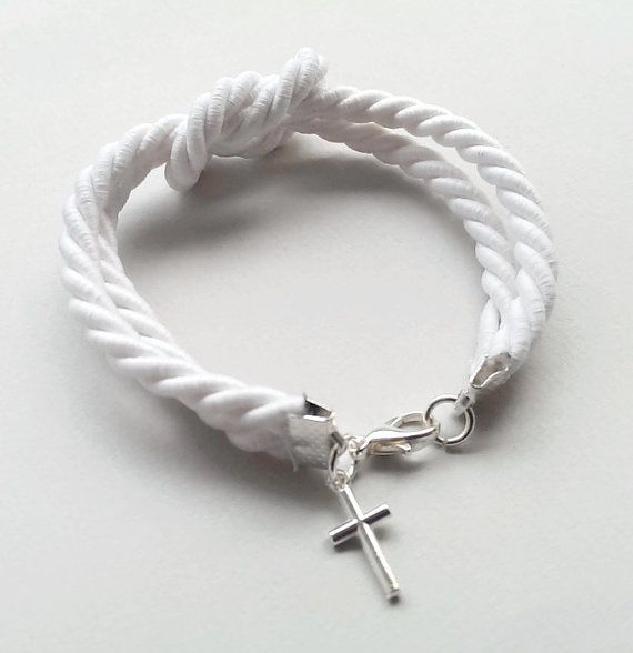 White bracelet with nautical knot and cross baptism by polychromo