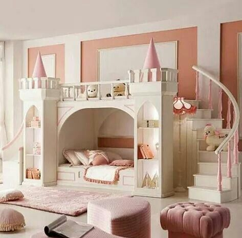 The ultimate Princess Room! Love the colors for this space.