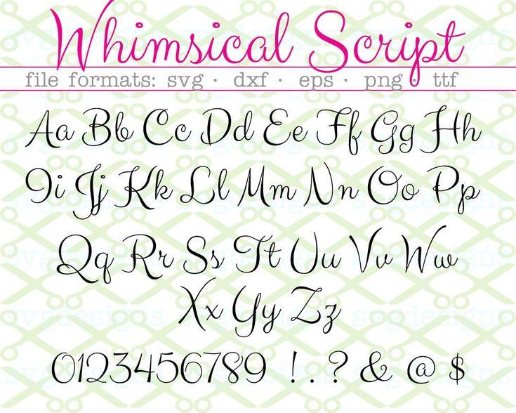 Download WHIMSICAL Script Font Svg, Dxf, Eps, PNG; Handwritten Font ...