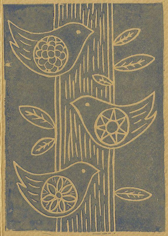 Birds in a tree Lino cut/ Lino print gift card