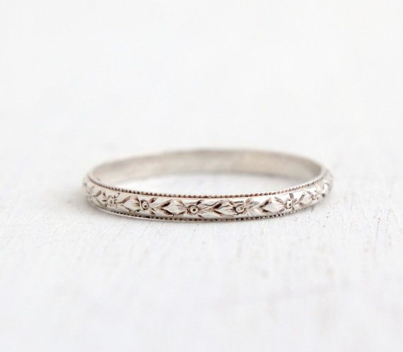 Antique Art Deco Sterling Silver Forget Me Not Ring Size 8 1 4 Flower Milgrain Eternity Wedding Band Signed Uncas Jewelry Orange Blossom