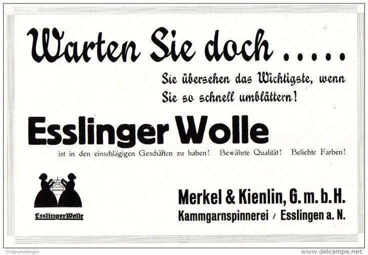 Original-Werbung/ Anzeige 1929 – DAS ESSLINGER WOLLBUCH / MERKEL & KIENLIN KAMMGARNSPINNEREI ESSLINGEN -ca. 200 X 135 mm (Artikelnummer: #407738964) – ORIGINALANZEIGEN.COM  Historische Printwerbung / Vintage Ads