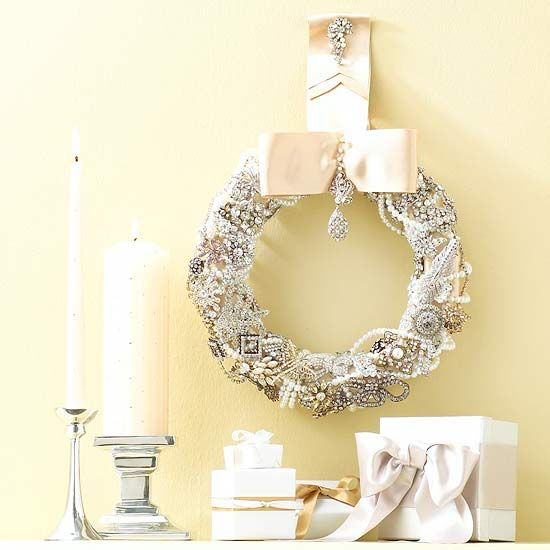 Vintage Sparkle Wreath  Show your holiday best with a wreath featuring costume jewelry and a luxurious satin bow. Inexpensive pearls and faux jewels from the crafts store would work well, too.