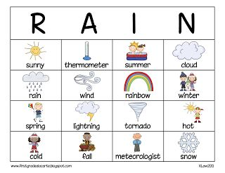 weather bingo printable | Here's my Weather Words Concentration game also.