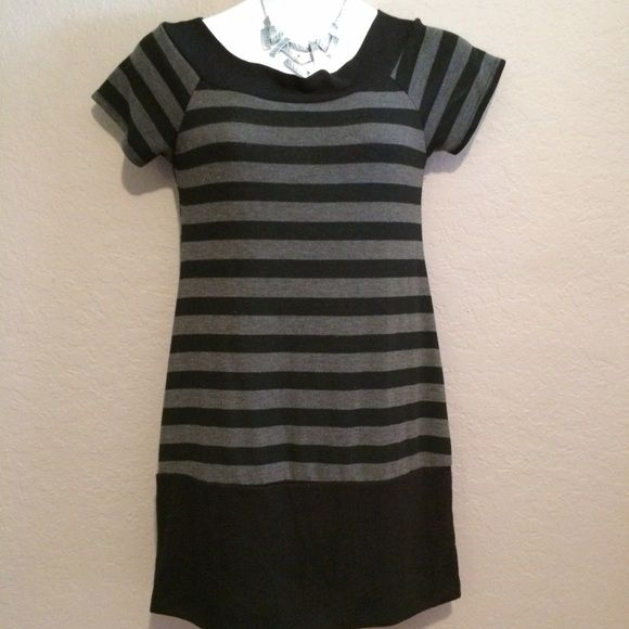 Black & Gray Stripe Short Dress Black and gray short sleeve short dress best worn with leggings. Been washed a few times do the black faded a touch. Delicious Dresses