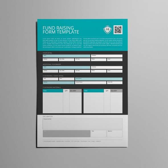 Fund Raising Form Template CMYK \ Print Ready Clean and - fundraising form template