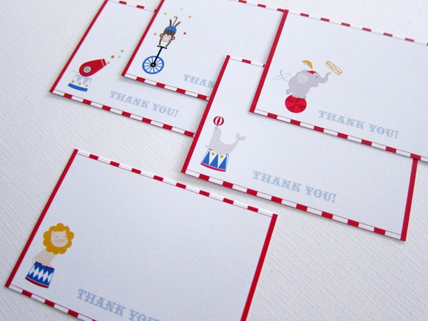 Circus Party Kit ~ Thank You Cards