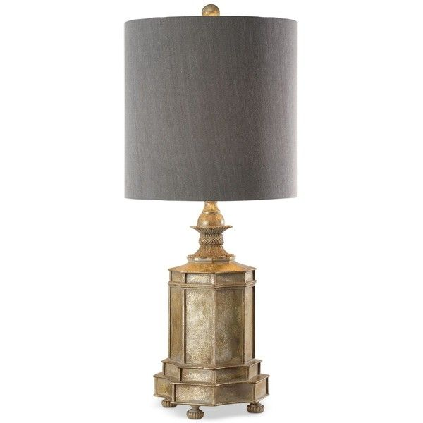 Uttermost Falerone Table Lamp ($370) ❤ liked on Polyvore featuring home, lighting, table lamps, gold, grey lamp, gray table lamps, gray shades, uttermost table lamps and uttermost lamps