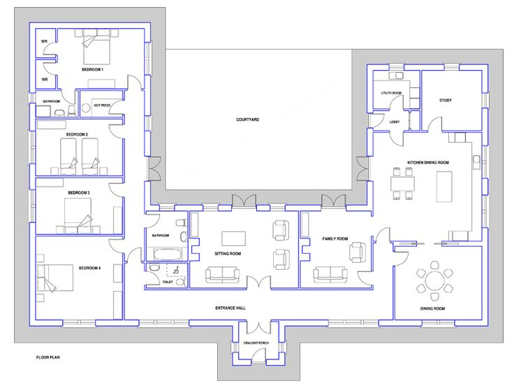 Dormer bungalow with long hall plans google search the for Dormer bungalow house plans ireland