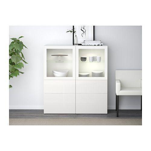BESTÅ Vitrine, weiß, Selsviken Hochglanz/Klarglas weiß weiß/Selsviken Hochglanz/Klarglas weiß 120x40x128 cm Schubladenschiene, sanft schließend