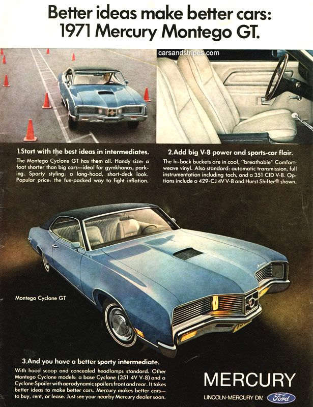 1971 Mercury Montego GT - Better ideas make better cars - Original Ad