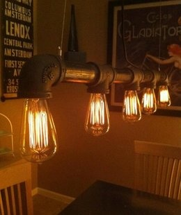 Edison Lights, Iron Pipe. Steampunk flavor, perfectly vintage <3