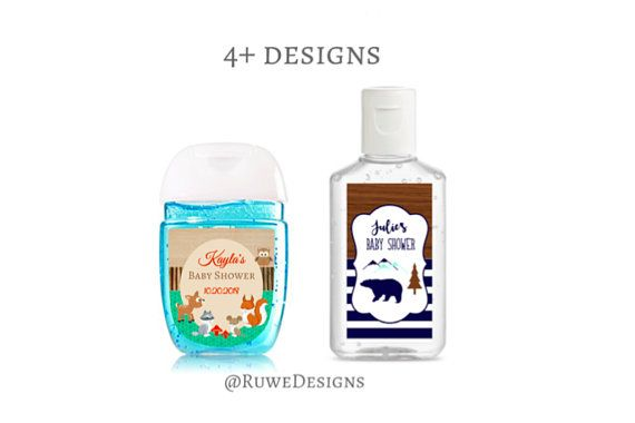 Customized Hand Sanitizer Labels For Lumberjack Woodland Themed
