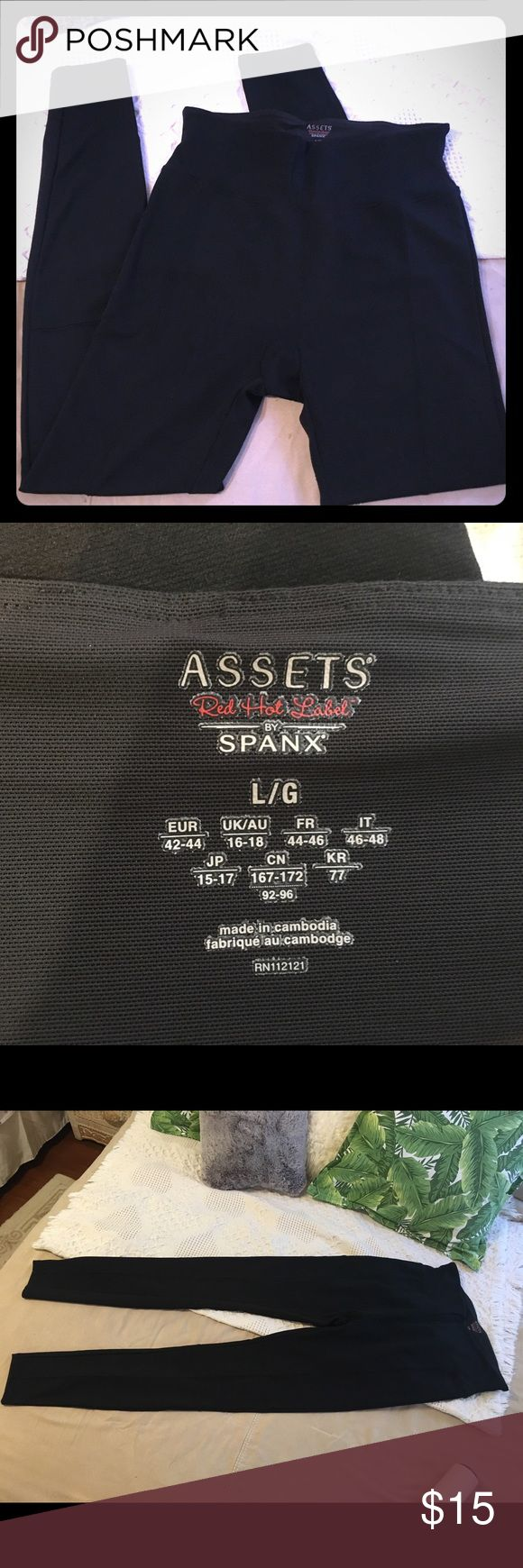 Assets by Spanx hi-waist leggings Assets by Spanx thick leggings, size L.  Like new, only worn to try on.  These are thick enough to stand alone as pants in my opinion.  There is some seam detail that's hard to see in the photos, but gives it a ponte pant look Assets By Spanx Pants Leggings