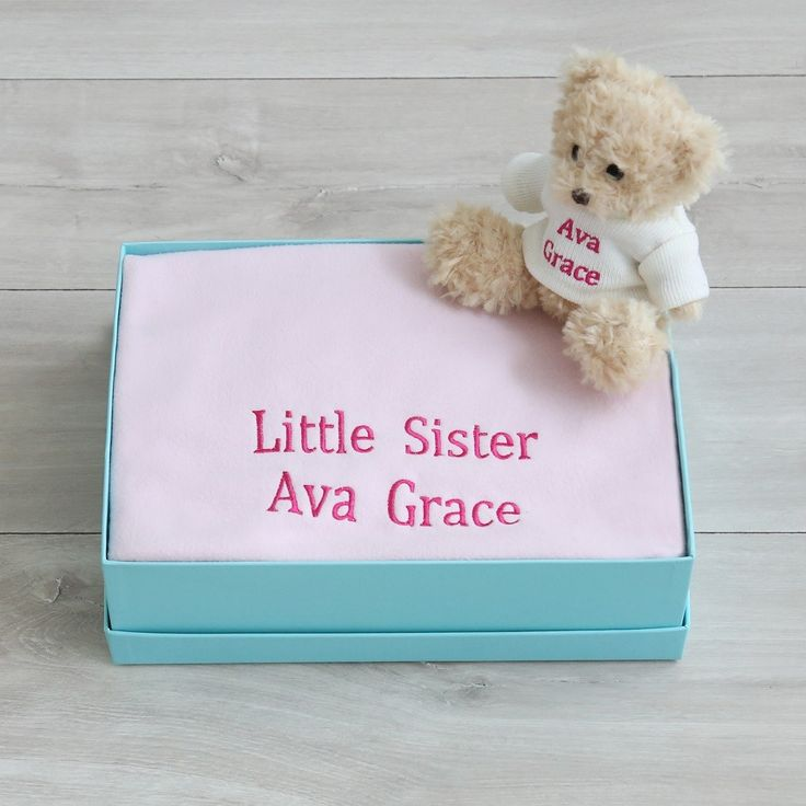 Personalised Blanket and Bear Set - Baby Pink