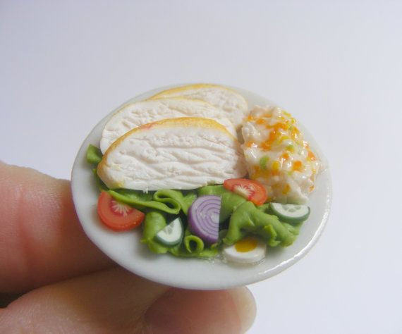 Cibo gioielli pollo profumato o inodore insalata miniatura cibo anello - gioielli fatti a mano, Mini Food gioielli, gioielli di cibo in miniatura, MealRing