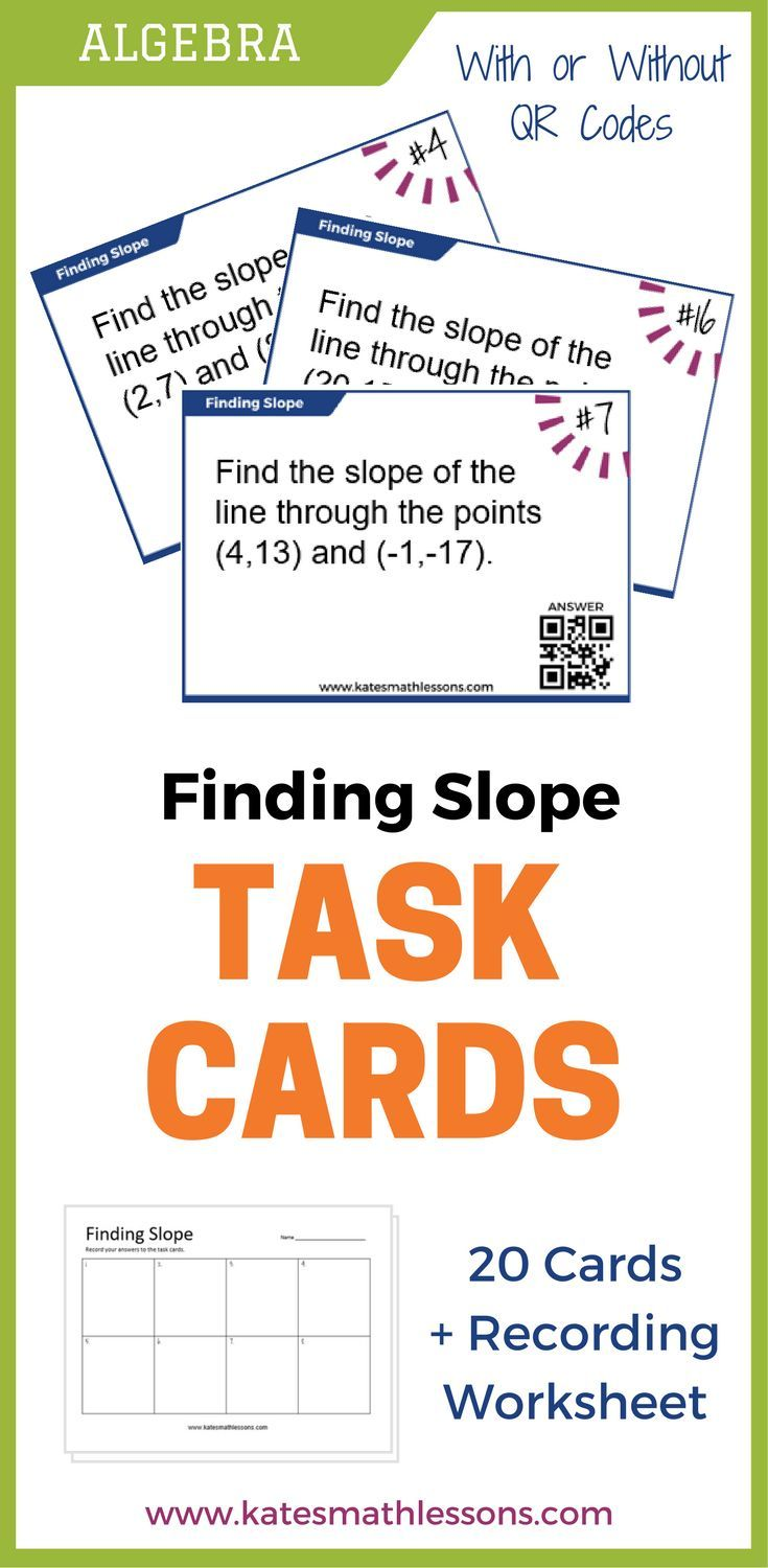 Finding Slope of a Line Task Cards Task cards, Math