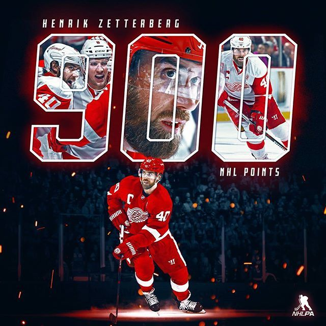 Make that 9️⃣0️⃣0️⃣ career @NHL points for Henrik Zetterberg - and all with the @detroitredwings Congrats!