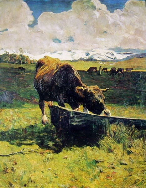 Giovanni Segantini - Vacca bruna all'abbeveratoio 1887