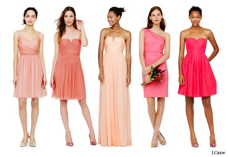 JCrew Bridesmaids Dresses In Shades Of Pink Coral Peach Wedding