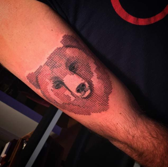 Cross Stitch Grizzly Bear Tattoo