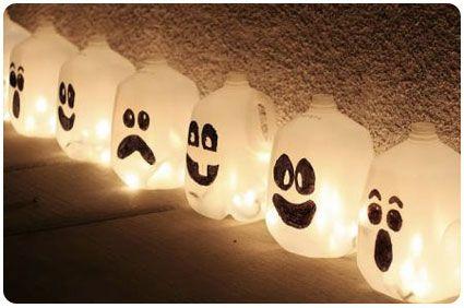 Start saving your milk jugs! Spooky Halloween Ghost Luminaries!Glow Sticks, Halloween Decor, Cute Halloween, Halloween Crafts, Christmas Lights, Milk Cartons, Halloweendecor, Milk Jugs, Halloween Ideas