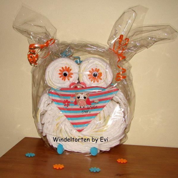 Windeleule 'Little Owl', süsse Windeltorte von Windeltorten By Evi auf DaWanda.com