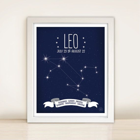 Zodiac Constellation Map * Leo Astrological Sign *  8x10 or 11x14