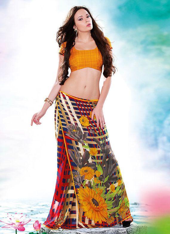 Bright & Beautiful Summer Sari by SassySaris on Etsy, $56.00