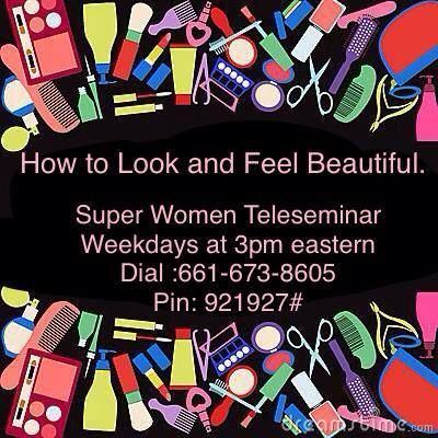 "Ladies are you ready for a beauty break?  Patricia Henry is going to be hosting the Super Women Connection Daily Teleseminar today!!! Come and learn ""How to Look and Feel Beautiful"" As an online marketer, a business professional, a caregiver a devoted wife, a retiree, or a busy Mom, find the time for YOU!!!  Listen in as Patricia shares some simple tips to help you feel beautiful again. Learn how you can get that much needed beauty break to give your self-esteem a boost."