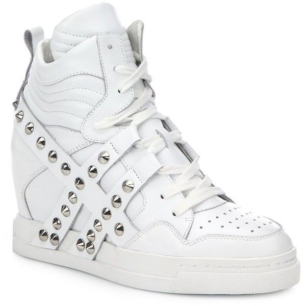 Clash Studded-Strap Leather Wedge Sneakers ($310) ❤ liked on Polyvore featuring shoes, sneakers, apparel & accessories, white, studded sneakers, hidden wedge sneakers, white wedge sneakers, ash sneakers and ash shoes