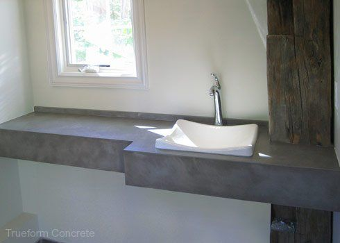 Pics On Floating Concrete vanity top with vessel sink Concrete Vanity Tops Trueform Concrete