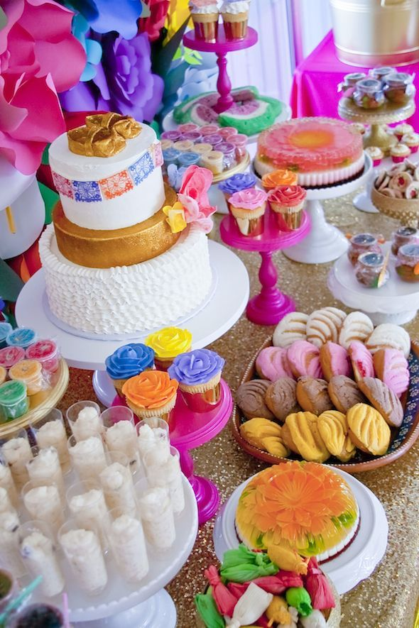 Colorful Mexican Inspired Dessert Table By Minted And Vintage Sans The Gold  Table Cloth