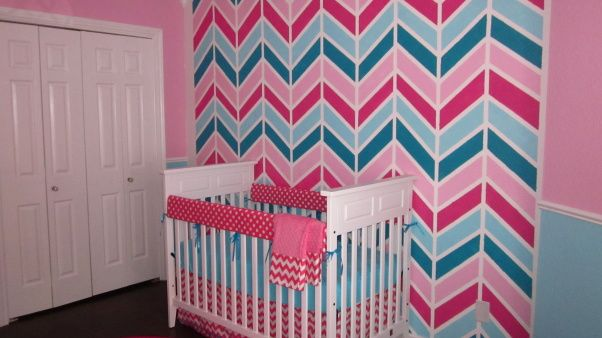 Peytons Chevron Nursery, Turquoise and Pink palette with a chevron accent wall for baby girl.  , Chevron accent wall.  Dark pink and Turquoise bedding.   , Nurseries Design