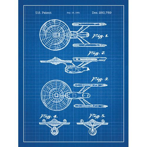 Eingefärbte und gerasterte Star Trek Enterprise Blueprint-Grafik-Poster in Blaugr …