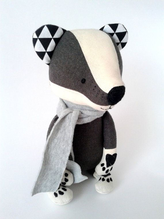 TOIVO the badger. made-to-order. stuffed toy. gift for children. eco toy. woodland animals.forest animals. stuffed badger