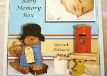 Baby Boy Memory Box (Paddington Bear Design) Handmade & Designed by Crafty Chez size 22cm x 22cm x 6cm. box inside is lined with tissue paper & comes with a small handmade box again lined with tissue paper & a handmade record keepsake book. Box can be personalised with name of Baby Boy & Date of Birth