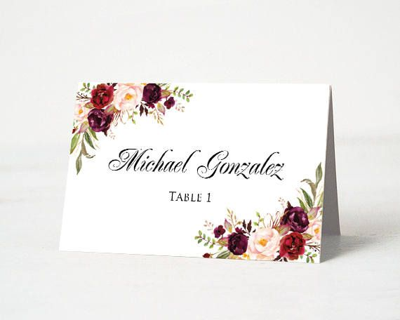 Marsala Place Cards Template Floral Wedding Table Place Cards Burgundy Place Card Editable Name Card Place Card Template Name Card Place Card Table Wedding Bar Menu Wedding Wedding Table Places